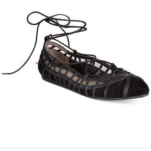 Bar III phoebe lace up black flats like new
